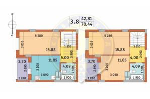 ЖК Чаривне Мисто: планировка 3-комнатной квартиры 78.44 м²