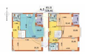 ЖК Чаривне Мисто: планировка 4-комнатной квартиры 128.61 м²
