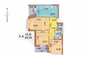 ЖК Чаривне Мисто: планировка 3-комнатной квартиры 80.59 м²