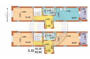 ЖК Чаривне Мисто: планировка 3-комнатной квартиры 96.86 м²