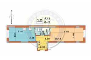 ЖК Чаривне Мисто: планировка 1-комнатной квартиры 45.72 м²