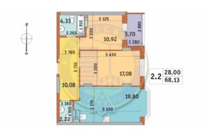 ЖК Чаривне Мисто: планировка 2-комнатной квартиры 68.13 м²