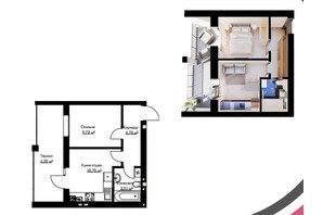 ЖК Cherry House: планування 1-кімнатної квартири 33.24 м²