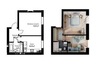 ЖК Cherry House: планування 1-кімнатної квартири 35.14 м²