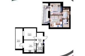 ЖК Cherry House: планування 1-кімнатної квартири 36.82 м²