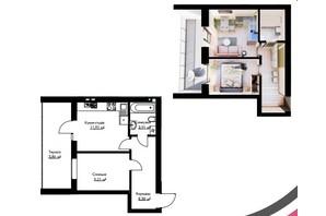 ЖК Cherry House: планування 1-кімнатної квартири 37.2 м²