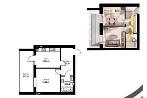 ЖК Cherry House: планування 1-кімнатної квартири 37.68 м²