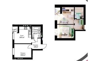 ЖК Cherry House: планування 1-кімнатної квартири 29.63 м²