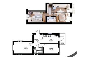 ЖК Cherry House: планування 2-кімнатної квартири 45.27 м²