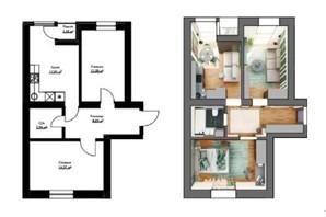 ЖК Cherry House: планування 1-кімнатної квартири 53 м²