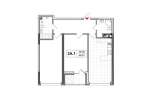 ЖК City Hub: планировка 2-комнатной квартиры 85.5 м²