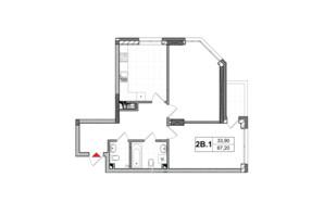 ЖК City Hub: планировка 2-комнатной квартиры 67.2 м²