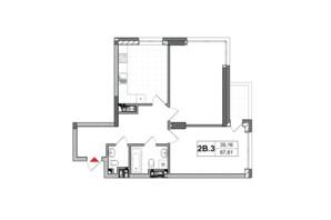 ЖК City Hub: планировка 2-комнатной квартиры 67.81 м²