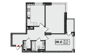 ЖК City Hub: планировка 2-комнатной квартиры 69.26 м²