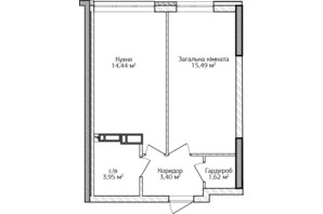 ЖК City Park 2 (Сити Парк 2): планировка 1-комнатной квартиры 38.9 м²