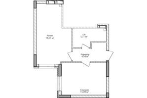 ЖК City Park 2 (Сити Парк 2): планировка 1-комнатной квартиры 44.39 м²
