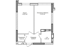 ЖК City Park 2 (Сити Парк 2): планировка 1-комнатной квартиры 38.71 м²