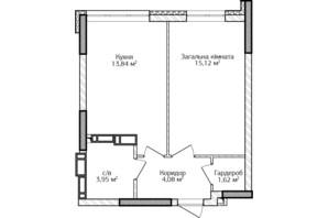 ЖК City Park 2 (Сити Парк 2): планировка 1-комнатной квартиры 38.61 м²