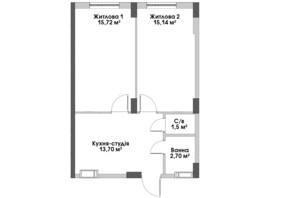 ЖК City Park 2 (Сити Парк 2): планировка 1-комнатной квартиры 48.6 м²