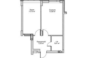 ЖК City Park: планировка 1-комнатной квартиры 38.8 м²