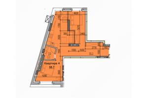ЖК Classic Hall: планировка 2-комнатной квартиры 58.7 м²