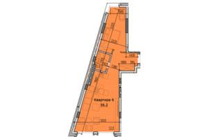 ЖК Classic Hall: планировка 1-комнатной квартиры 56.2 м²
