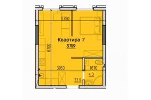 ЖК Classic Hall (Классік Хол): планування 1-кімнатної квартири 37.9 м²
