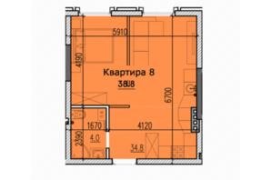 ЖК Classic Hall (Классік Хол): планування 1-кімнатної квартири 38.8 м²