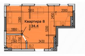 ЖК Classic Hall (Классік Хол): планування 1-кімнатної квартири 34.4 м²