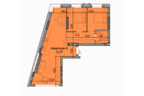 ЖК Classic Hall (Классік Хол): планування 1-кімнатної квартири 71.9 м²
