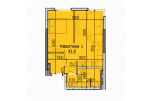ЖК Classic Hall (Классік Хол): планування 1-кімнатної квартири 41.6 м²