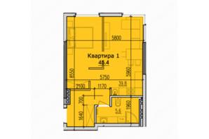 ЖК Classic Hall (Классік Хол): планування 2-кімнатної квартири 48.4 м²