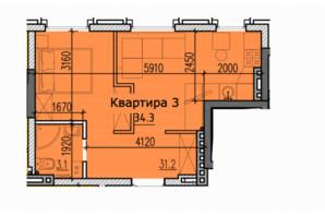 ЖК Classic Hall (Классік Хол): планування 1-кімнатної квартири 34.3 м²