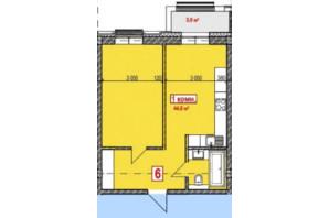 ЖК Club City: планування 1-кімнатної квартири 46.3 м²