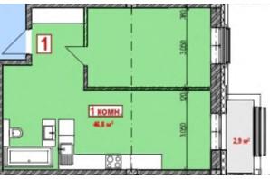 ЖК Club City: планування 1-кімнатної квартири 48.25 м²