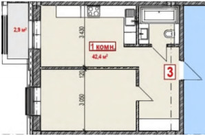 ЖК Club City: планування 1-кімнатної квартири 43.85 м²