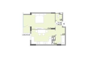 ЖК Comfort City: планування 1-кімнатної квартири 44.25 м²
