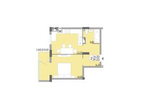 ЖК Comfort City: планування 1-кімнатної квартири 39.25 м²