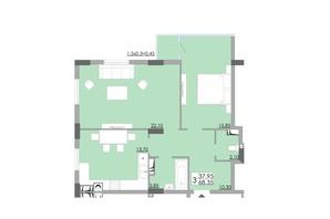 ЖК Comfort City: планування 2-кімнатної квартири 68.35 м²