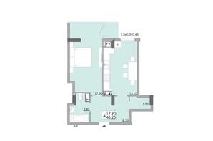 ЖК Comfort City: планування 1-кімнатної квартири 46.25 м²