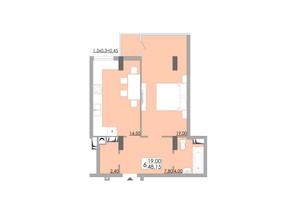 ЖК Comfort City: планування 1-кімнатної квартири 48.15 м²