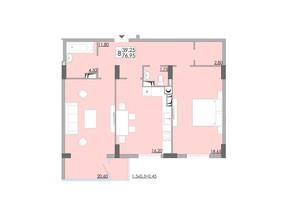 ЖК Comfort City: планування 2-кімнатної квартири 76.95 м²