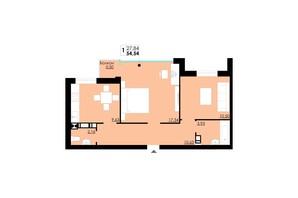 ЖК Comfort City: планування 1-кімнатної квартири 54.54 м²