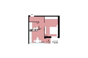 ЖК Comfort City: планування 1-кімнатної квартири 36.9 м²