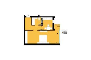 ЖК Comfort City: планування 1-кімнатної квартири 42.03 м²