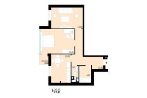 ЖК Comfort City: планування 2-кімнатної квартири 59.81 м²