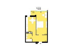 ЖК Comfort City: планування 1-кімнатної квартири 43.43 м²