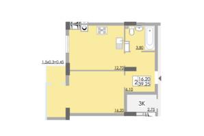 ЖК Comfort City: планировка 1-комнатной квартиры 39.25 м²