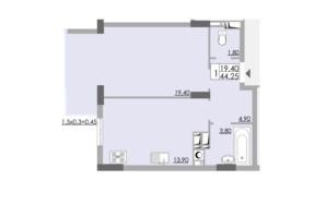 ЖК Comfort City: планировка 1-комнатной квартиры 44.25 м²