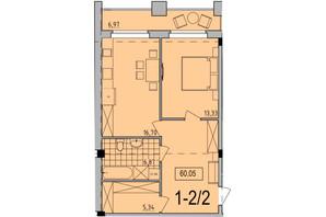 ЖК Comfort City: планування 1-кімнатної квартири 60.05 м²